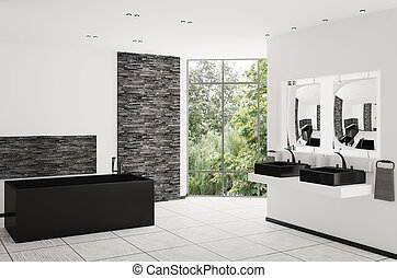 Interior of modern bathroom 3d render - Interior of modern...