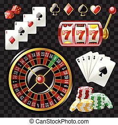 Set of casino objects - modern vector realistic isolated...