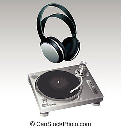 Turntable and Headphone DJ Style vector