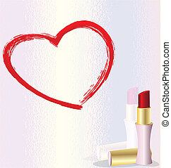 lipstick heart - on the reflective surface - the heart,...
