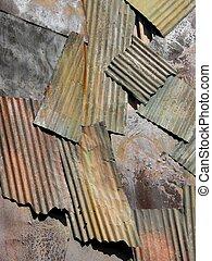 Corrugated iron sheets - Old corrugated iron sheets as...