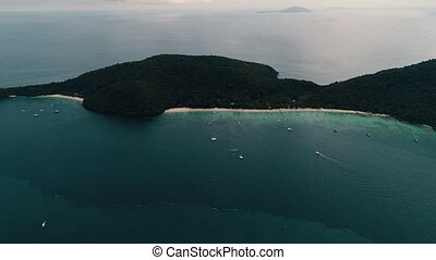 Thailand Coral Island Drone Shot View of the island from a...