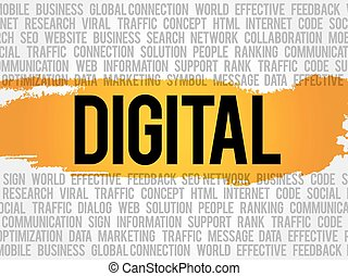 DIGITAL word cloud collage, business concept background