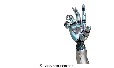 Animated robot hand counting 5 finger. Right hand. Alpha...
