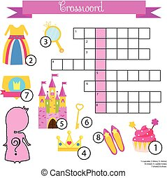 Crossword for girls. Educational children game with answer....