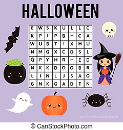 Word search puzzle for children, educational game. Halloween...