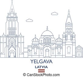 Yelgava City Skyline, Latvia - Yelgava Linear City Skyline,...