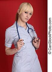 lindo, Sexy, Enfermera