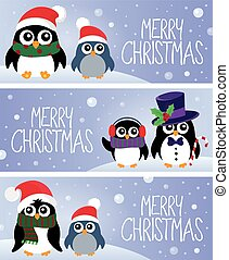 Merry Christmas topic banners 1 - eps10 vector illustration.