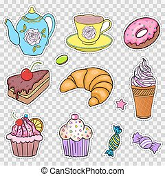 Set of various sweets on white background.Stickers for...