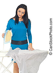 Beauty woman ironing