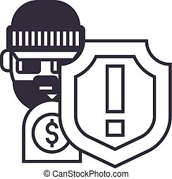 theft thievery steal vector line icon, sign, illustration on...