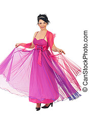 Woman twirl her pink dress - Full length of beautiful woman...