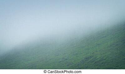 Misty Hillside In The Rain - Misty barren mountainside in...