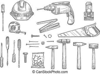 Vector sketch icons of repair work tools - Repair, carpentry...
