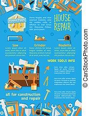 Vector poster of house repair work tools - House repair work...