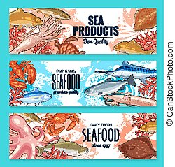 Vector sketch banners for seafood fish food market - Seafood...