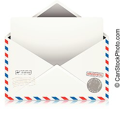 Mail Air Envelope with Postal Stamp isolated on white background.
