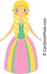 Cute fairy tale princess with blondie braids. Girl in long...