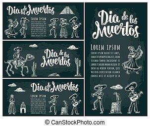 Horizontal poster for Day of the Dead. Dia de los Muertos...