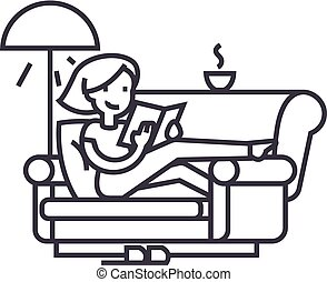 woman at home at sofa reading book with tea and lamp vector line icon, sign, illustration on background, editable strokes