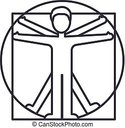 vitruvian man vector line icon, sign, illustration on...