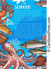 Vector poster for seafood sketch fish food market - Seafood...