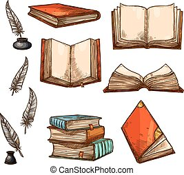Vector icons of old books and manuscripts sketch - Old books...