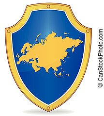 Shield with silhouette of Eurasia - Illustration of a shield...