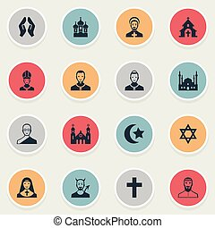 Vector Illustration Set Of Simple Religion Icons. Elements...