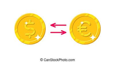 Exchange dollar Euro cartoon style isolated. The exchange of...
