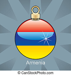 Armenia flag in christmas bulb