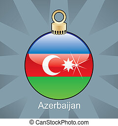 Azerbaijan flag in christmas bulb