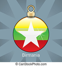Birmania flag in christmas bulb
