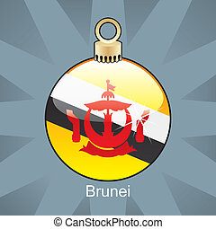 Brunei flag in christmas bulb