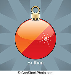 Buthan flag in christmas bulb