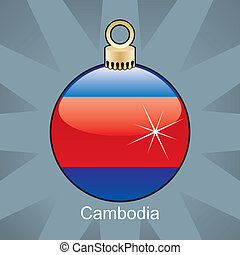 Cambodia flag in christmas bulb