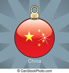 China flag in christmas bulb