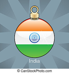 India flag in christmas bulb