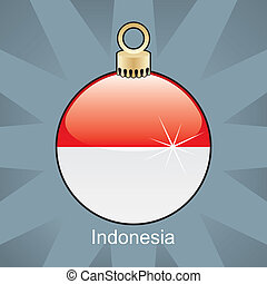 Indonesia flag in christmas bulb