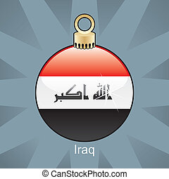 Iraq flag in christmas bulb