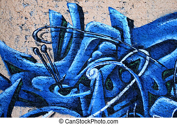 Graffiti blue wall - Urban wall texture - graffiti art...