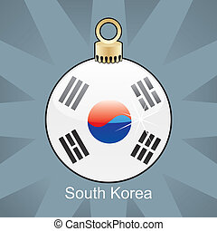 South Korea flag in christmas bulb - fully editable vector...