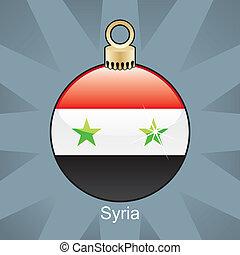 Syria flag in christmas bulb - fully editable vector...