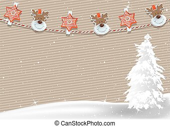 Christmas Background with Clothespin Decoration - Christmas...