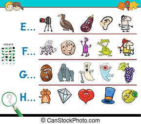 first letter of a word activity for kids - Cartoon...