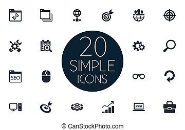Vector Illustration Set Of Simple Review Icons. Elements PC, Date Block, Detail And Other Synonyms Www, PC And Suitcase.