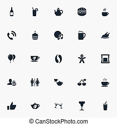 Vector Illustration Set Of Simple Restaurant Icons. Elements Cafe, Handset, Sandwich Synonyms Herbal, Cup And Hamburger.