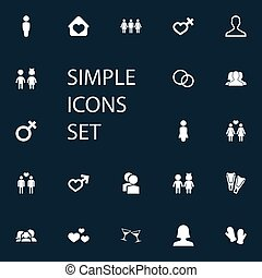 Vector Illustration Set Of Simple Beloved Icons. Elements...