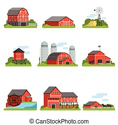 Farm buildings and constructions set, agriculture industry and countryside objects vector Illustrations